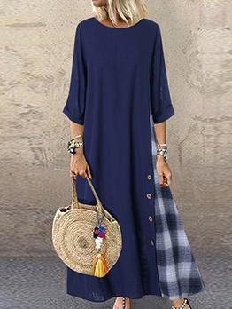 Plaid Patch Large Hem Plus Size Maxi Dress Casual