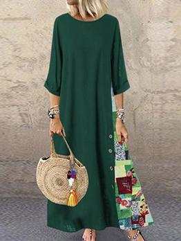 Summer Half Sleeve Print Plus Size Maxi Dress