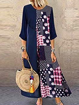 Polka Dot Plaid Print Maxi Dress Plus Size