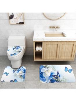 Modern Butterfly Printed Bathroom Three Piece Doormat