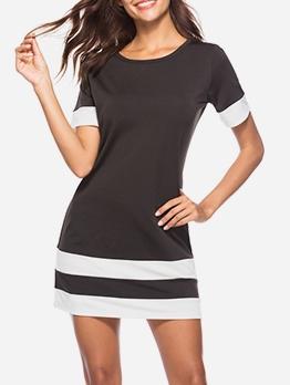 Color Block Short Sleeve A-Line Dress