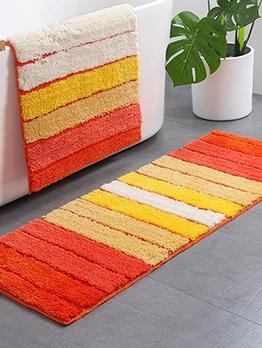 Colorful Striped Flocking Square Floor Mat