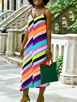 V Neck Colorful Striped Sleeveless Maxi Dress