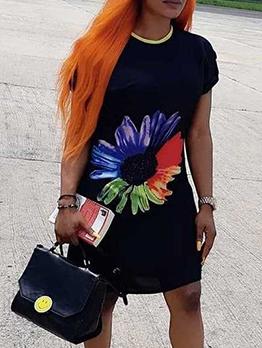 Print Short Sleeve Black Dress For Women
