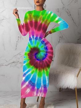 Casual Tie Dye Long Sleeve Maxi Dress