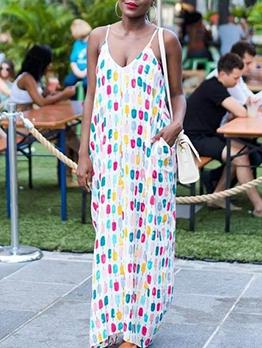 Colorful Dots Print Sleeveless V Neck Maxi Dress