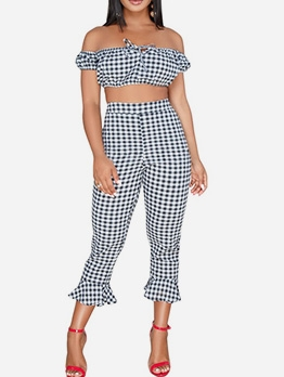 Boat Neck Plaid Bell Bottom Crop Top And Pants Set