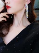 Trendy Rhinestone Tassel Statement Earrings