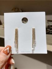 Elegant Zircon Pendant Rhinestone Tassel Earrings