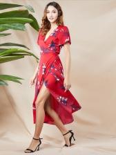 V Neck Split Hem Floral Wrap Maxi Dress