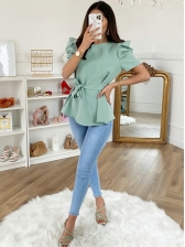 Solid Color Crew Neck Puff Sleeve Blouse