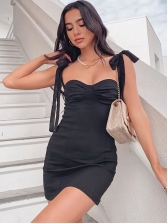 Tempting Ruched Tied Strap Women Bodycon Dress