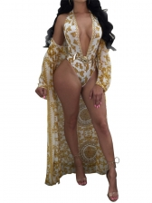 Deep V Neck Printed One Piece Swimsuit With Long Cardigan