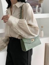 Alligator Print Twist Lock Solid Chain Shoulder Bag