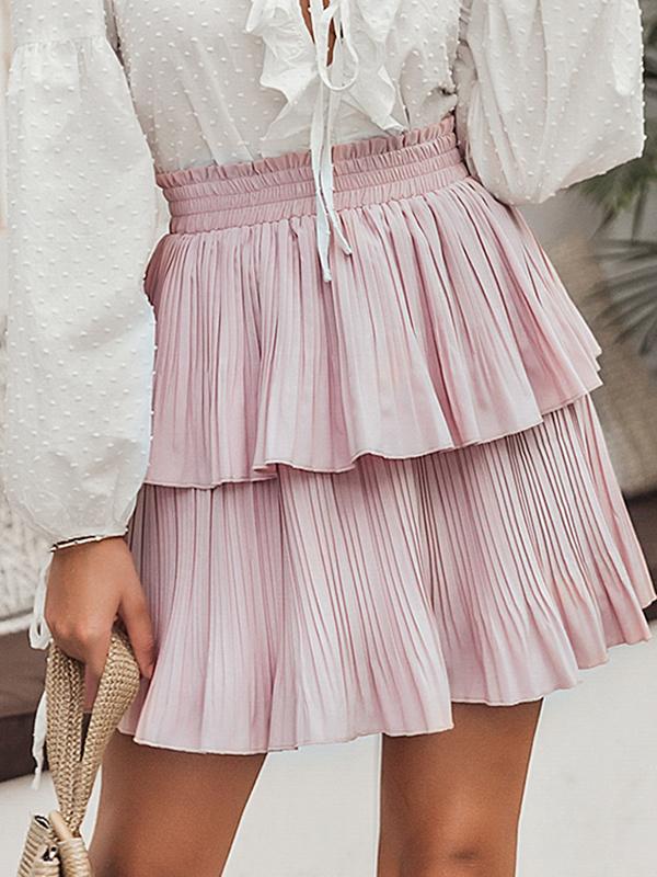 Bohemian Elastic Waist Pink Short Ruffle Skirt
