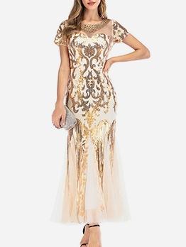 Beading Sequins Pacthwork Evening Dresses For Women