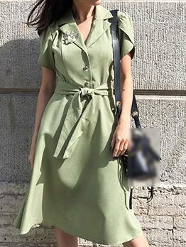 Slim Fit Green Short Sleeve Blazer Dress