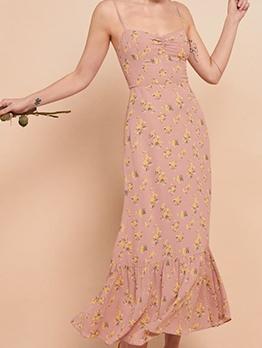 Retro Flower Printed Slip Maxi Dress