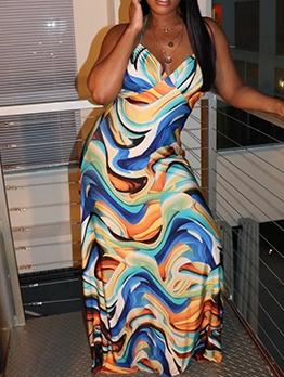 Seductive Open Back Printed Halter Maxi Dress