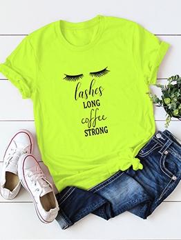 Plus Size Crew Neck Letter T Shirt Printing