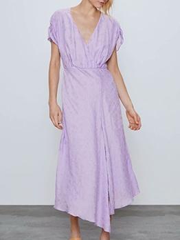 V Neck Textured Short Sleeve Purple Maxi Dress