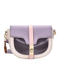 Adjustable Belt Twist Lock Color Patchwork Saddle Bag