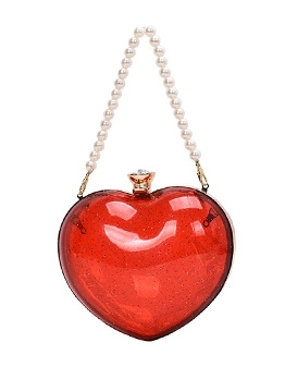 Transparent Jelly Faux Pearl Handle Heart-Shaped Crossbody Bag