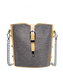 Detachable Chain Buckle Closure Women Bucket Bag