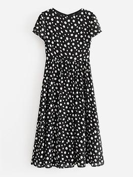 Casual Black Polka Dot Midi Dress