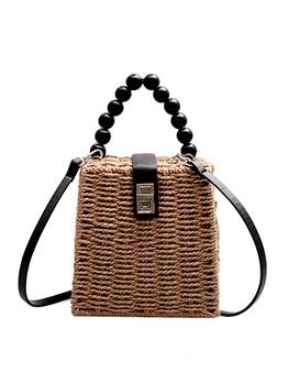Straw Beaded Handle Spin Lock Vintage Shoulder Bag