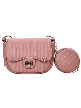 Vertical Thread Twist Lock Shoulder Bag With Small Round Wallet