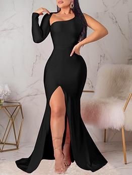 Backless One Shoulder Floor-Length Black Prom Dress