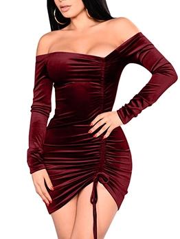 Drawstring Long Sleeve Off The Shoulder Velvet Mini Dress