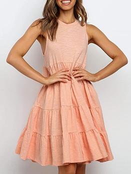 Summer Pure Color Large Hem Loose A-Line Dress