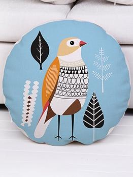Simple Botanic Birds Printed Round Household Pillowcase