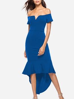 Irregular Hem Fitted Off The Shoulder Evening Dress