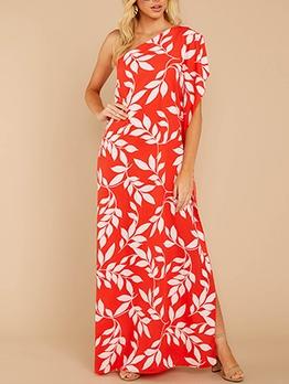 One Shoulder Print Maxi Dress Casual