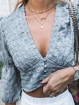 Fashion Lantern Sleeve Single Breasted Blue Blouse