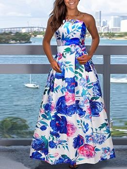 Large Hem Print Blue Sleeveless Maxi Dress