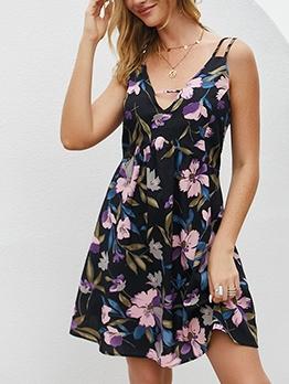 Cross Belt Backless Print Sleeveless A-Line Dress