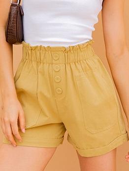 Simple Design Button Decor Yellow Short Pants