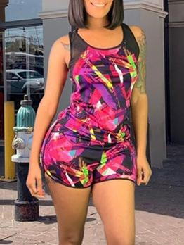 Color Block Gauze Patchwork Tank Top And Shorts Set