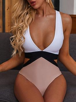 Sexy Contrast Color Tie Dye One Piece Bikini