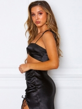 Satin Sleeveless Side Drawstring Two Piece Skirt Set