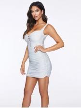 Sexy Ruched Slip White Bodycon Dress