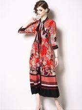 Euro Single-Breasted Tied Neck Print Maxi Dress