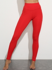 Solid Color High Waist Sports Leggings With Pockets