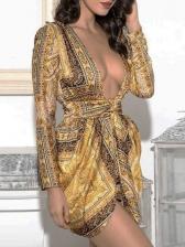 Night Club Deep V Long Sleeve Wrap Dress