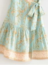 Ruffled V Neck Printed Short Sleeve Wrap Dress
