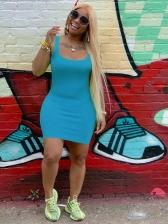 Leisure u Neck Solid Sleeveless Bodycon Dress